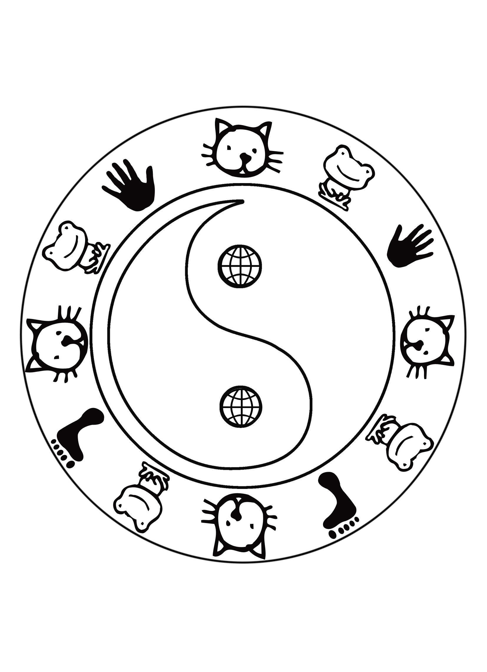 Ying yang mandala coloring pages coloring pages for Ying yang coloring pages